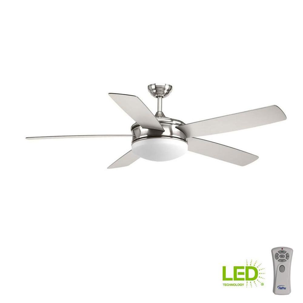 Progress lighting fresno collection 60 in led indoor brushed nickel coastal ceiling fan with light