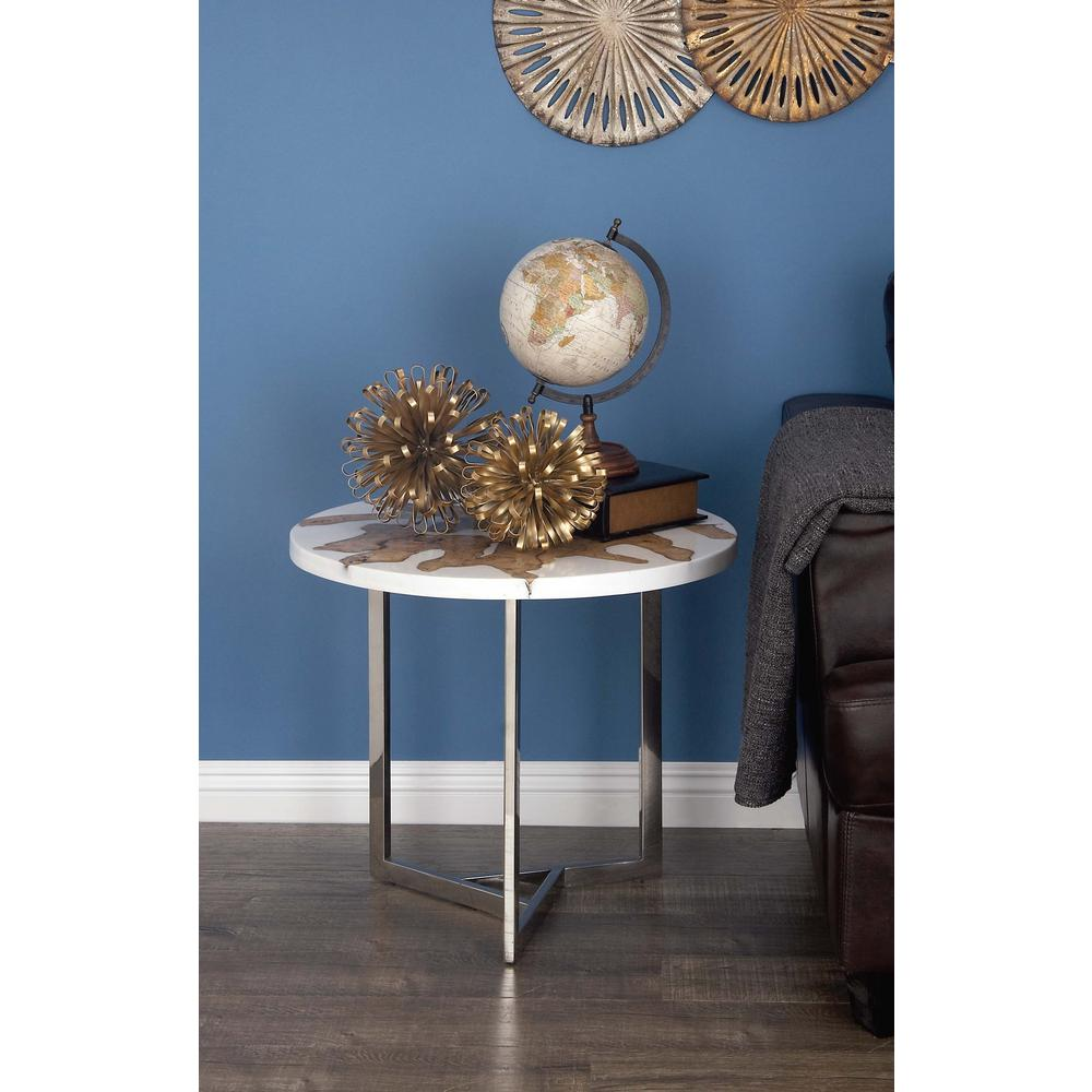 Modern Brown Teak Wood and White Resin Accent Table