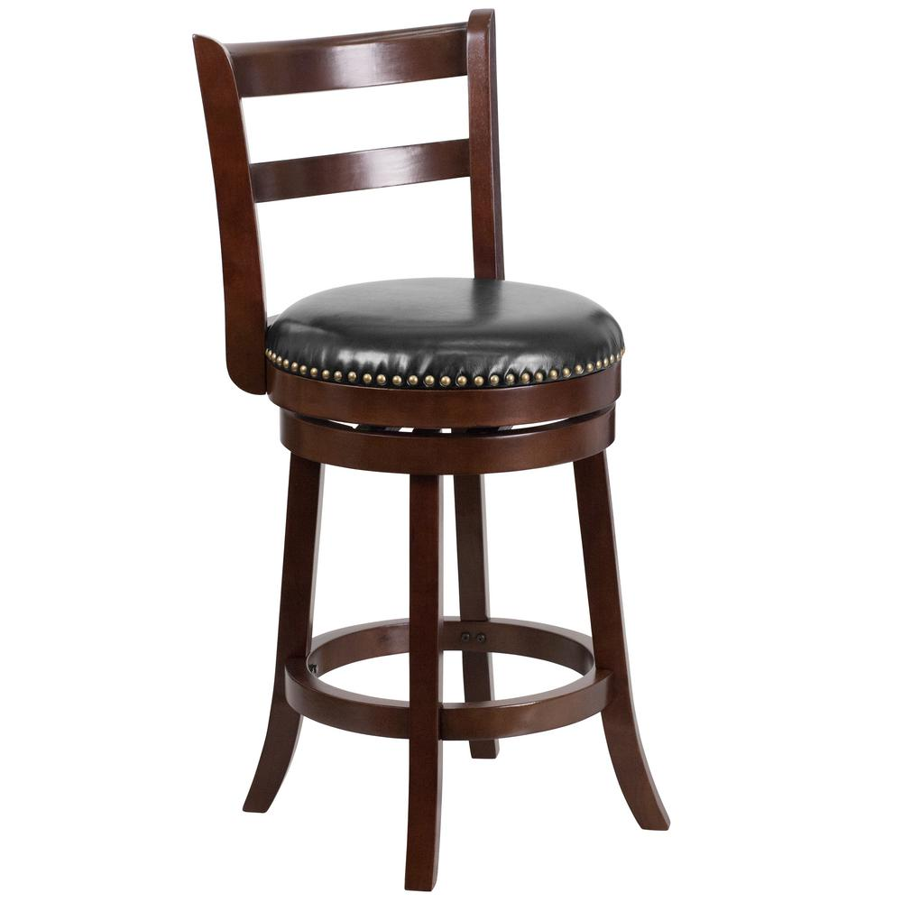 26.25 in. Black and Cappuccino Swivel Cushioned Bar Stool
