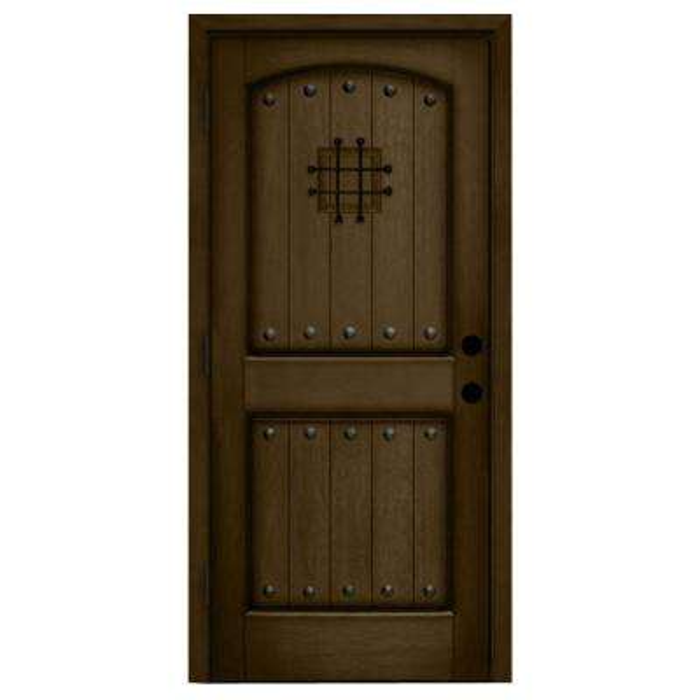 Rustic 2-Panel Speakeasy Stained Mahogany Wood Prehung Front Door