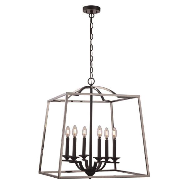 6-Light Polished Chrome and Black Pendant with Metal Cage Shade