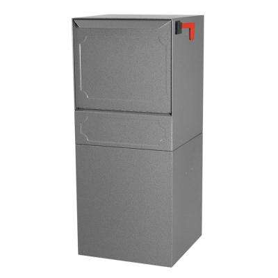 Parcel Protector Vault Gray Post/Column Mount Locking Mailbox with Outgoing Mail Clip and Carrier Service Flag