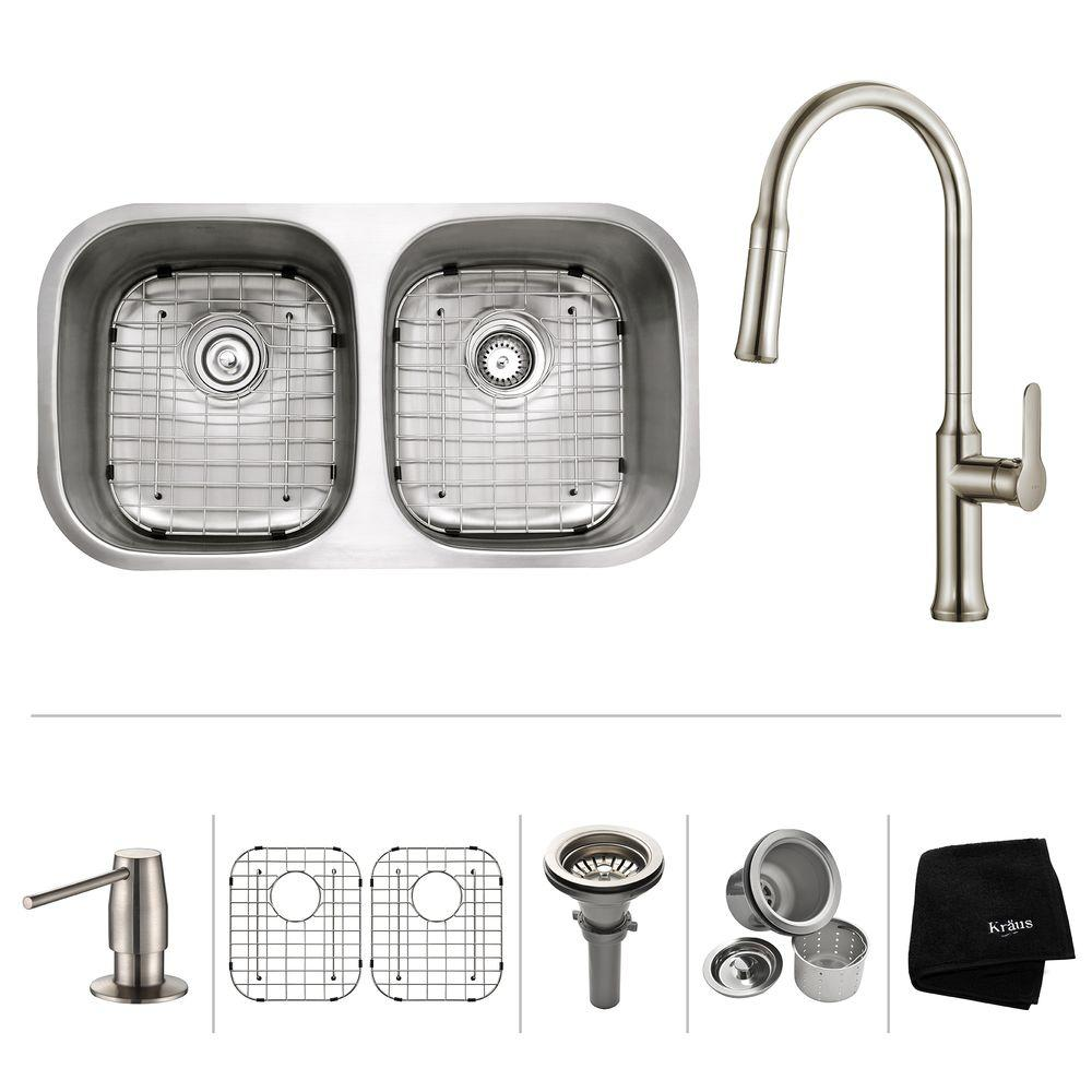All-in-One Undermount Stainless Steel 32 in. Double Bowl Kitchen Sink with