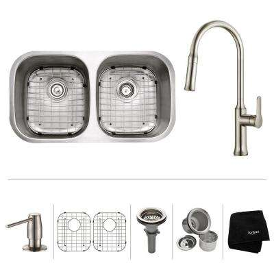 All-in-One Undermount Stainless Steel 32 in. Double Bowl Kitchen Sink with Faucet and Accessories in Stainless Steel