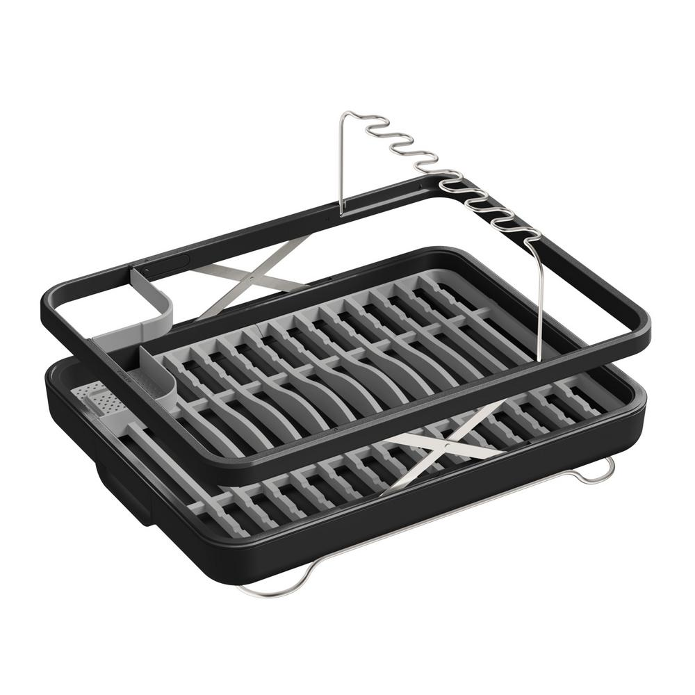 KOHLER Collapsible Lift Dish Drying Rack/Basket In Charcoal