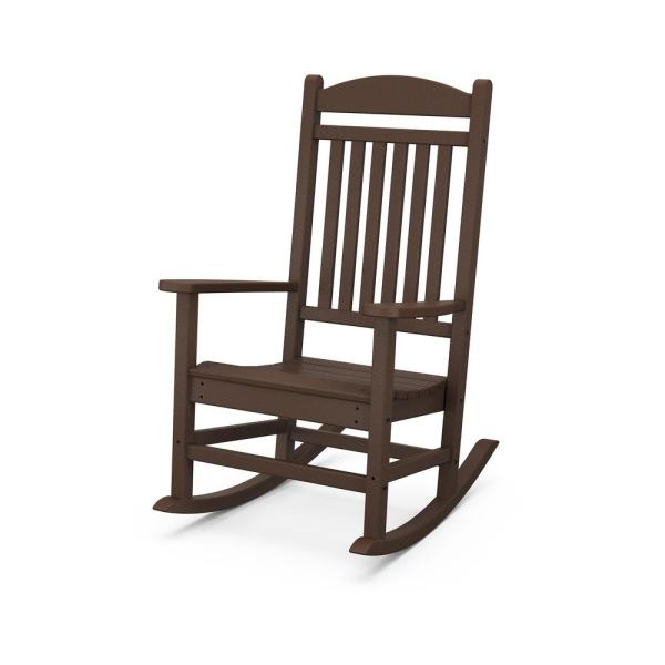 Polywood Grant Park Mahogany Plastic Outdoor Rocking Chair R105ma The Home Depot