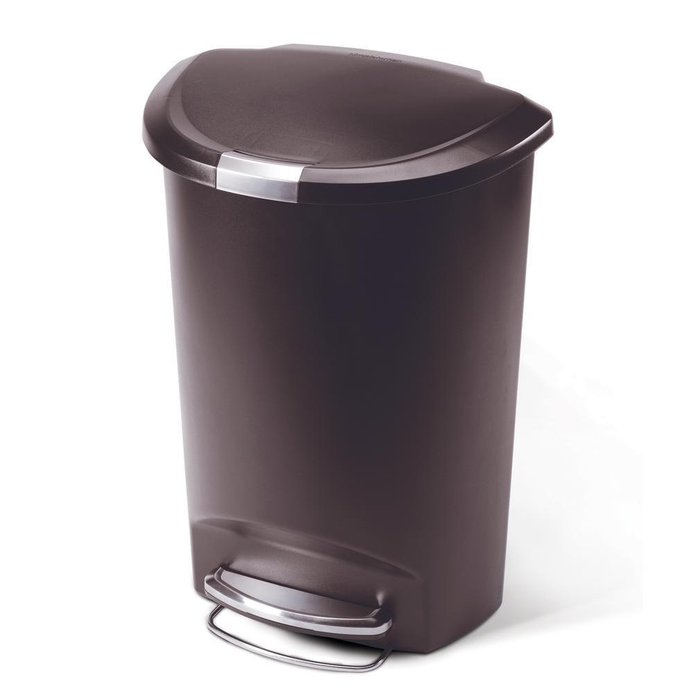 50-Liter Mocha Plastic Semi-Round Step-On Trash Can