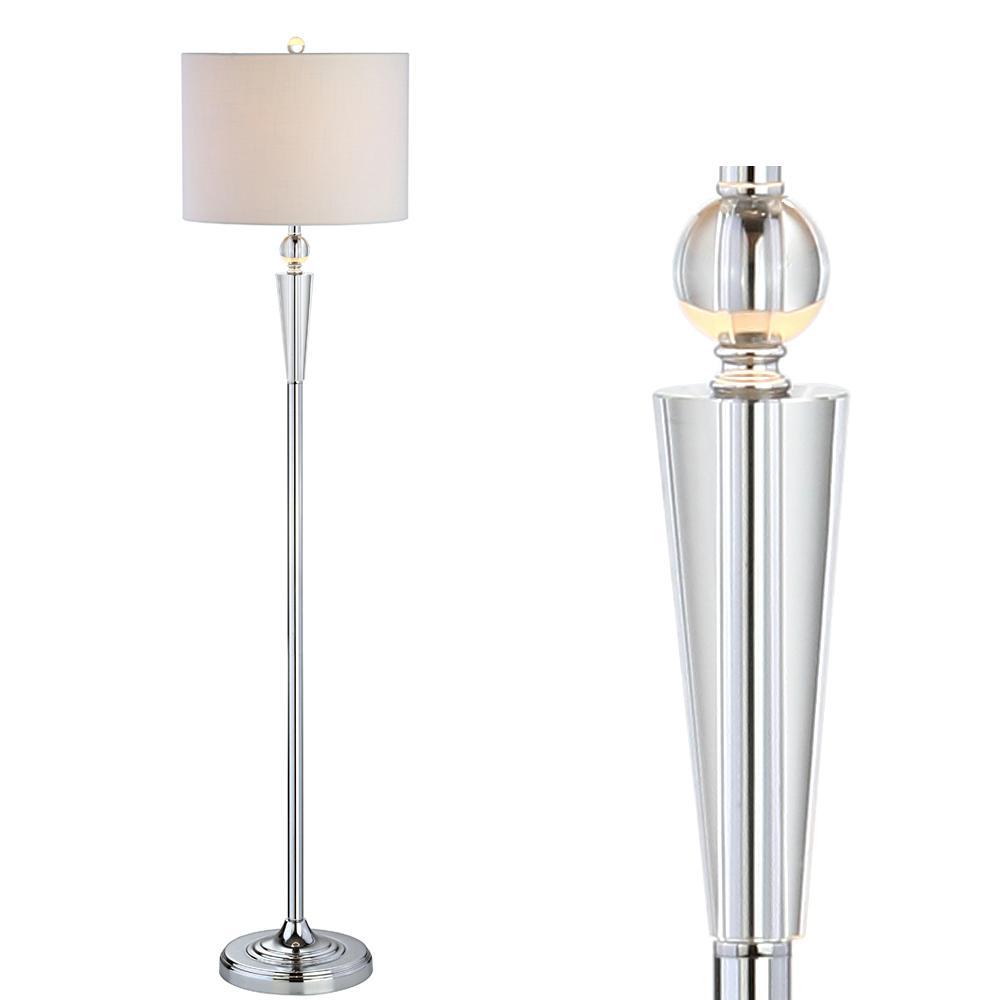 Reese 59.5 in. Clear/Chrome Crystal Floor Lamp