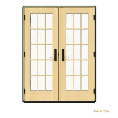 60 in. x 80 in. W-4500 Green Clad Wood Right-Hand 15 Lite French Patio Door w/Lacquered Interior
