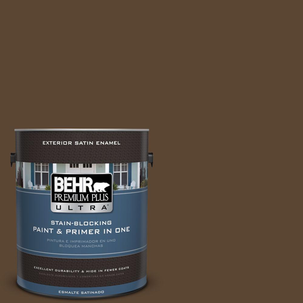 BEHR Premium Plus Ultra 1-gal. #ECC-20-3 Hickory Grove Satin Enamel Exterior Paint