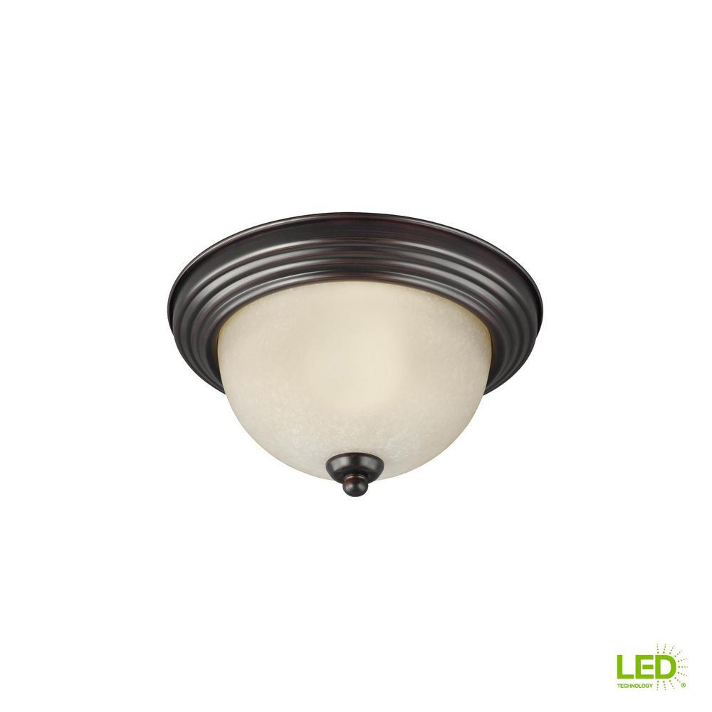 Ceiling flush mount collection 28 watt burnt sienna integrated led flush mount