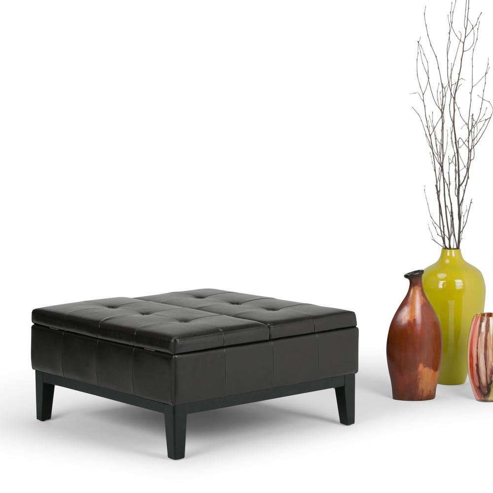 Simpli Home Dover Tanners Brown Storage Ottoman
