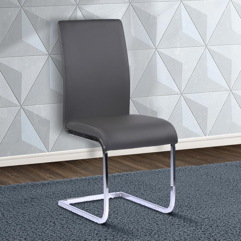 Gray Faux Leather And Chrome Finish Contemporary Side Chair (