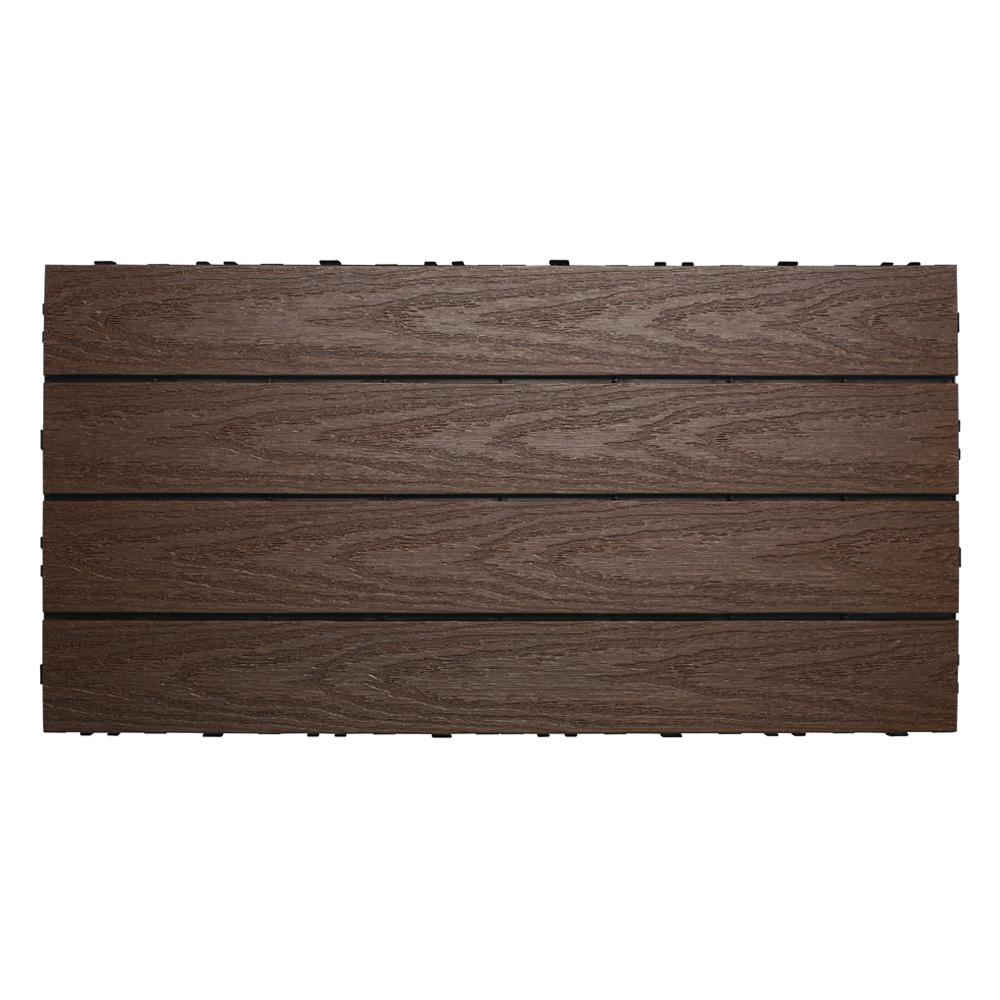 NewTechWood UltraShield Naturale 1 ft. x 2 ft. Quick Deck Outdoor Composite Deck Tile in Spanish Walnut (20 sq. ft. Per Box)