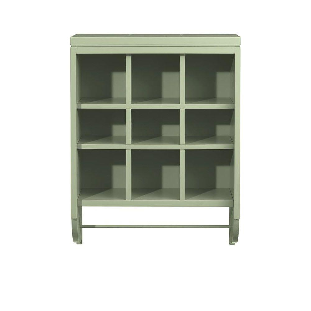Martha Stewart Living Craft Space 28 in. x 21 in. Rhododendron Leaf 9-Cubbies Open Wall Mounted Storage