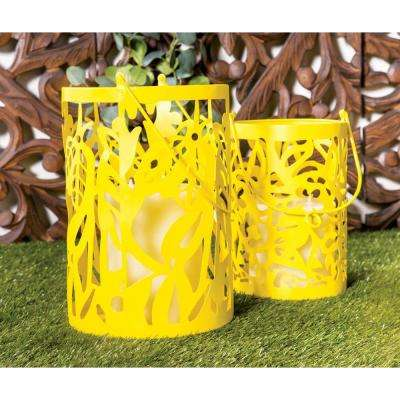 Yellow Pierced Leaf Design Candle Lanterns (Set of 2)