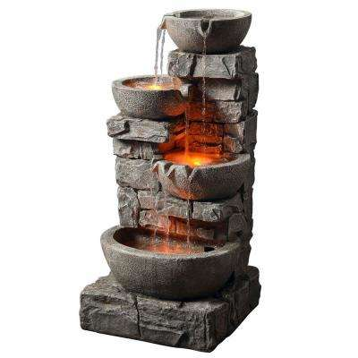 Outdoor Stacked Stone Tiered Bowls Fountain with LED Light