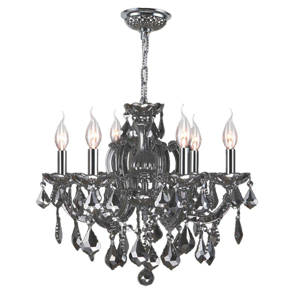 Catherine Collection 6-Light Chrome Crystal Chandelier