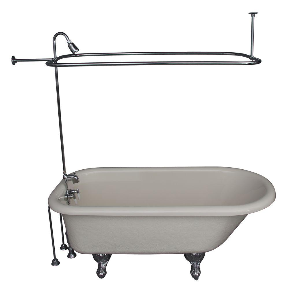 Barclay Products 5 ft. Acrylic Ball and Claw Feet Roll Top Tub in Bisque with Polished Chrome Accessories