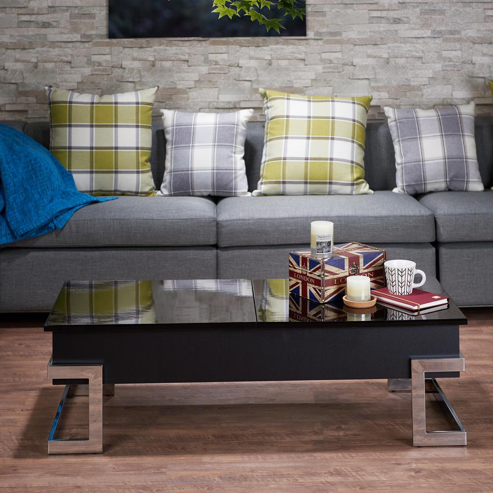 acme furniture calnan black and chrome coffee table 81855 the