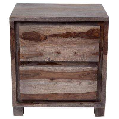 Big Sur Contemporary Solid Sheesham Wood Nightstand in Gray Wash