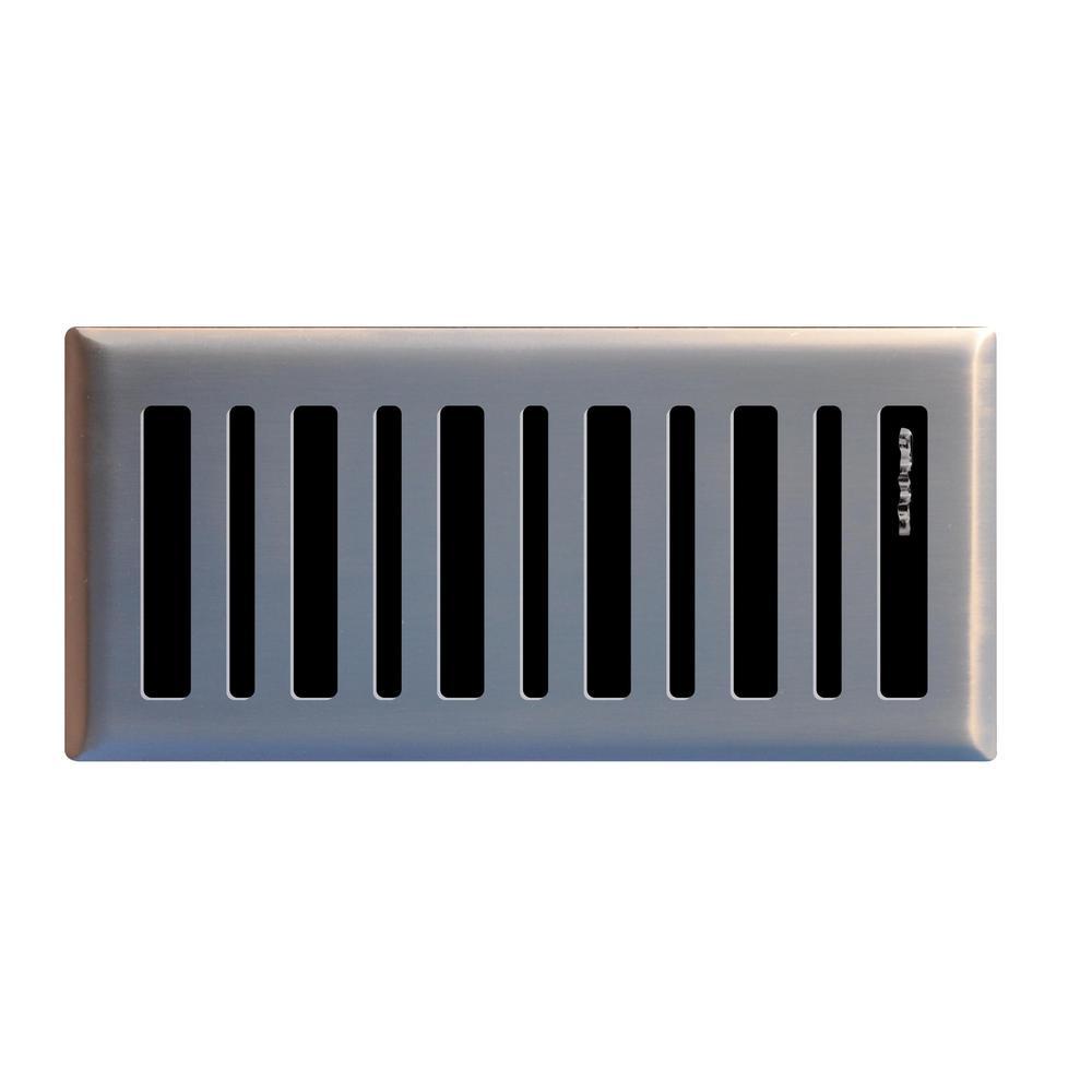 Contemporary 4 in. x 10 in. Steel Floor Register in Brushed Nickel