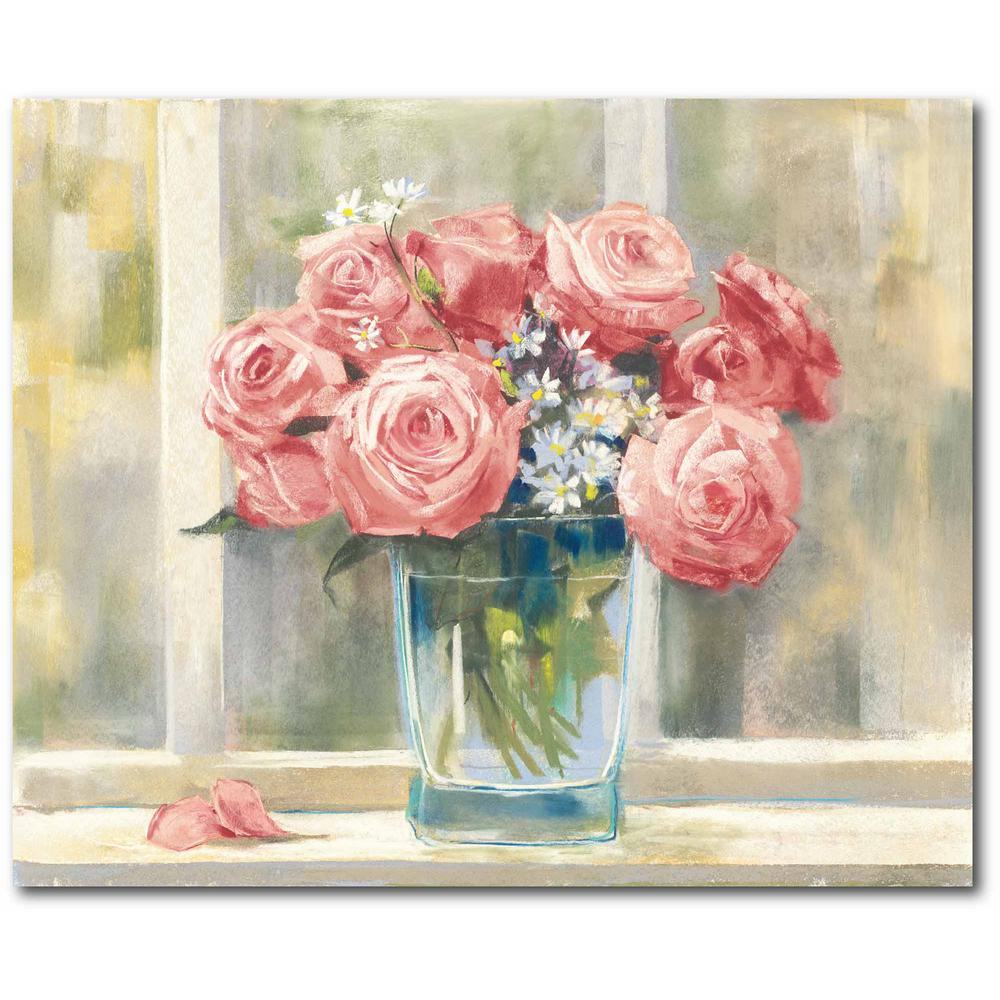 Courtside Market Pink Roses Gallery-Wrapped Canvas Nature Wall Art 20 in. x 16 in., Multi Color was $70.0 now $38.93 (44.0% off)