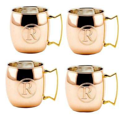 Monogram R 16 oz. Solid Copper Moscow Mule Mugs (Set of 4)