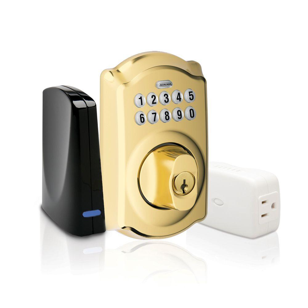 Schlage Bright Brass Keypad Deadbolt Home Security Kit with Nexia Home Intelligence