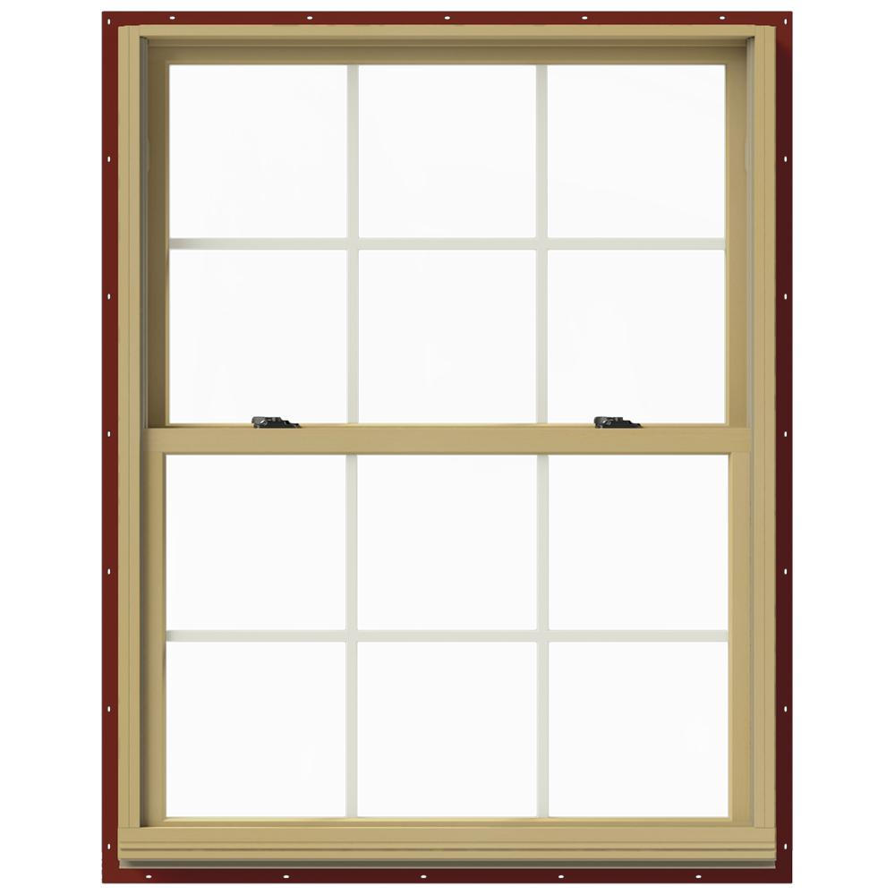 Jeld wen in x 48 in w 2500 double hung aluminum for Best double hung windows reviews