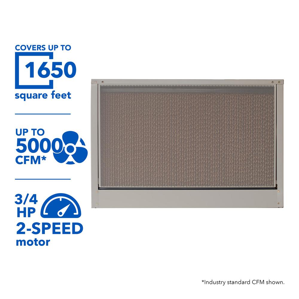 5000 CFM 230-Volt 2-Speed Down-Draft Roof 12 in. Media Evaporative Cooler for 1650 sq. ft. (with Motor),  Cool Sand
