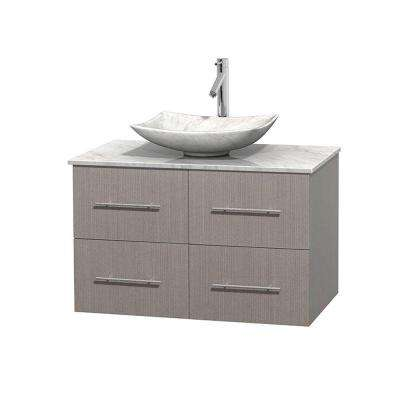 Centra 36 in. Vanity in Gray Oak with Marble Vanity Top in Carrara White and Sink