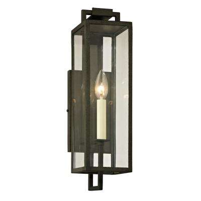 Beckham 1-Light Forged Iron 16.5 in. H Outdoor Wall Mount Sconce with Clear Glass
