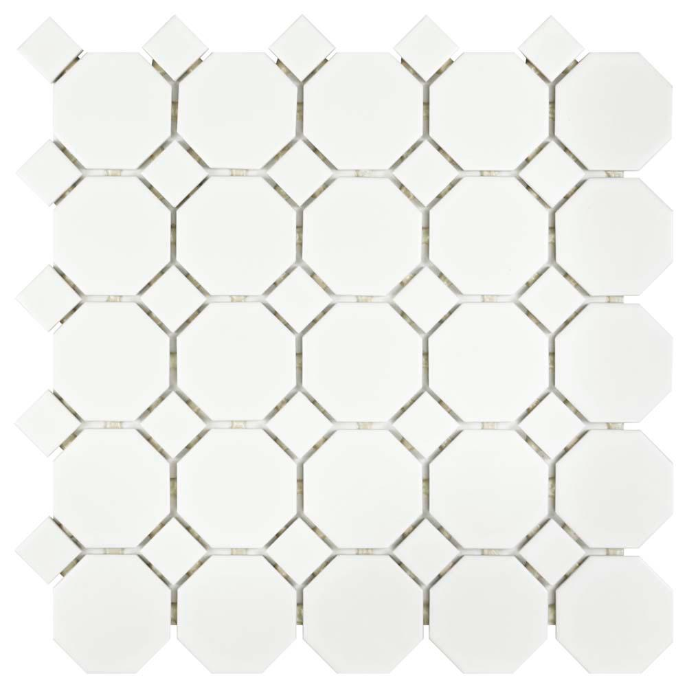 Metro Octagon Matte White With Dot 11 1 2 In X 5 Mm Porcelain Mosaic Tile 9 38 Sq Ft Case