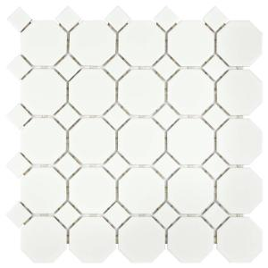 Metro Octagon Matte White With Dot 11 1 2 In X