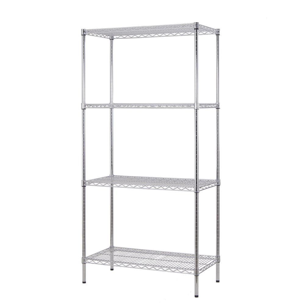 Excel 36 in. W x 72 in. H x 18 in. D All Purpose Heavy-Duty 4-Tier Wire Shelving, Chrome