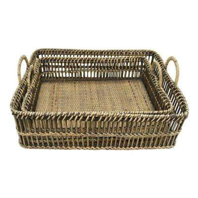 7.5 in. Rattan Tray (Set Of 2)