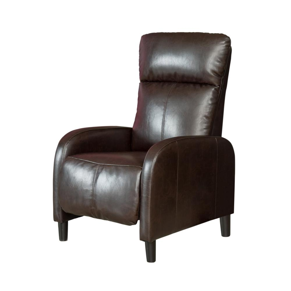 37b3f0d2b0a9 Noble House Stratton Brown Bonded Leather Recliner-344806 - The Home ...