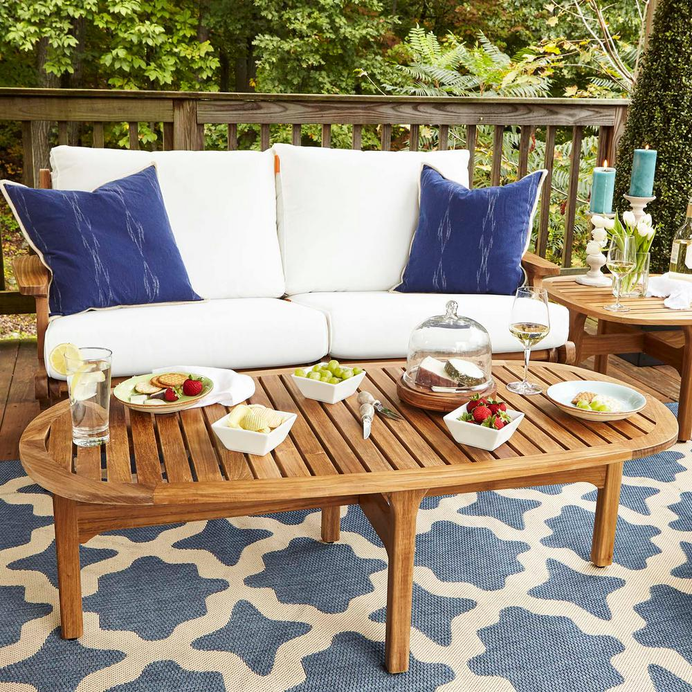 MODWAY Saratoga Teak Outdoor Oval Coffee Table in Natural ...