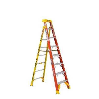 LEANSAFE 8 ft. Fiberglass Leaning Step Ladder with 300 lb. Load Capacity Type IA Duty Rating