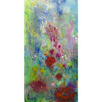 "38 in. x 20 in. ""Ellen's Garden Panel I"" ""By Valentino Bustos"" Hand Painted Boxed Canvas Wall Art"
