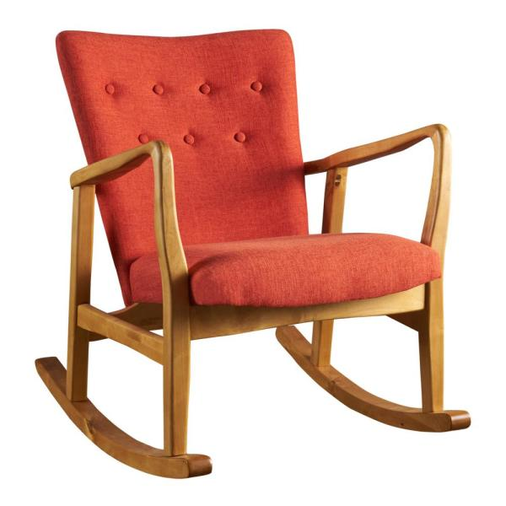 Callum Mid-Century Modern Button Back Muted Orange Fabric Rocking Chair