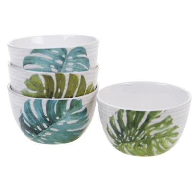 Palm Leaves Green Ice Cream Bowl (Set of 4)