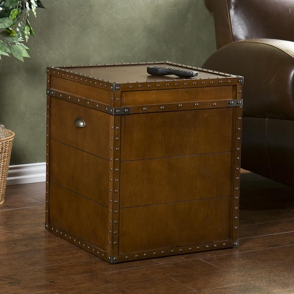 Southern Enterprises Steamer Trunk Walnut Trunk End Table