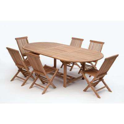Bali Brown 7 Piece Wood Oval Outdoor Dining Set Without Cushions