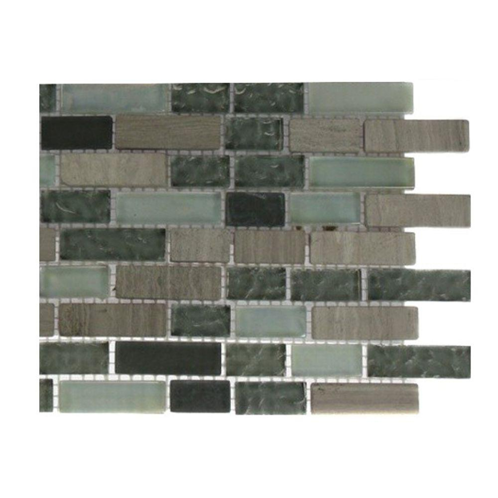 Splashback Tile Galaxy Blend Brick Pattern 1/2 in. x 2 in. Marble and Glass Tile - 6 in. x 6 in. Tile Sample