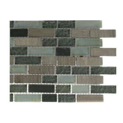 Galaxy Blend Brick Pattern 1/2 in. x 2 in. Marble and Glass Tile - 6 in. x 6 in. Tile Sample