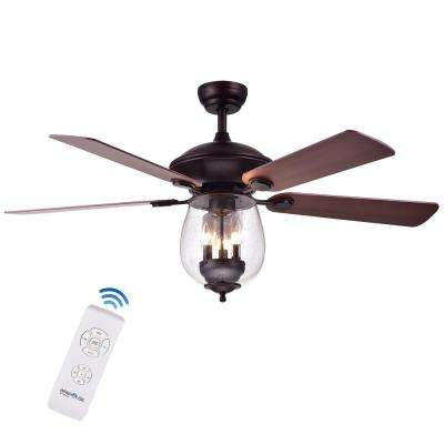 Tibwald 52 in. Indoor Oil Rubbed Bronze Remote Controlled Ceiling Fan with Light Kit