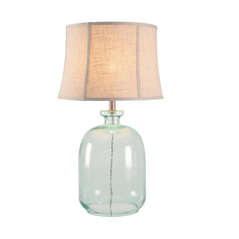 Olga 28.5 in. Aqua Tinted Glass Indoor Table Lamp