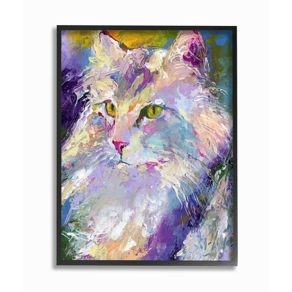 Stupell Industries 11 in. x 14 in. Brightly Colored Rainbow Purple Painted Cat Portrait by Artist Richard Wallich Framed Wall Art, Multi-Colored was $33.26 now $20.11 (40.0% off)
